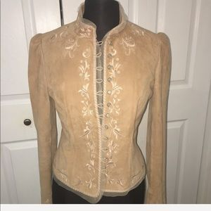 Tahari Tan Hand Embroidered Suede Jacket Size S
